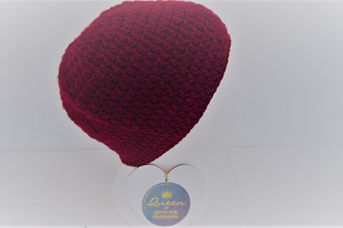 Brimless Beanie Hat - Burgundy Aran