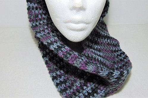 Cowl Scarf - Purple and Grey, Handmade Gifts for Outdoor Enthusiasts, Adventure Accessories