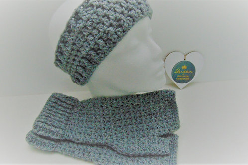 Hiking Mitts and Ear Warmer Set - Grey