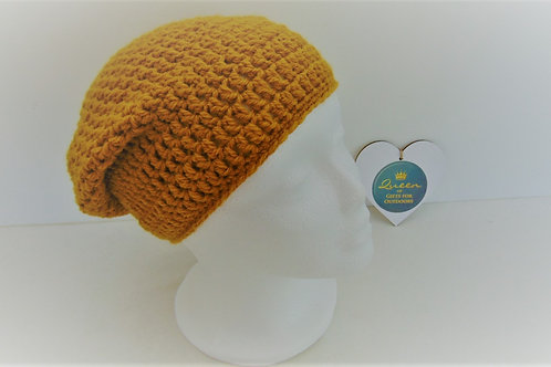 Brimless Slouchy Beanie Hat, Mustard. Gifts for Outdoors, Adventure Accessories