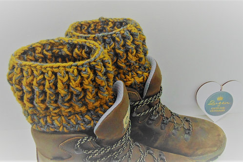 Boot Cuffs - Mustard and Charcoal. Gifts for Outdoors by Adventure Accessories