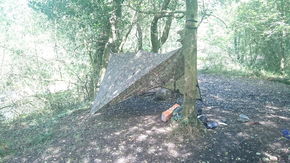 Tarp diamond set up, wild camping. Adventure Accessories