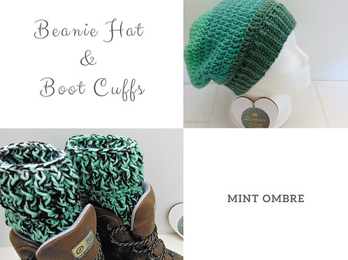 Beanie Hat and Boot Cuffs - Mint Ombre