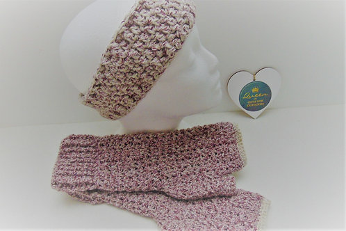 Hiking Mitts and Ear Warmer Set - Red Denim. Gifts for Outdoors, Adventure Accessories