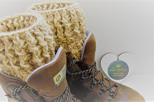 Boot Cuffs, Cream and Mink. Gifts for outdoors, Adventure Accessories