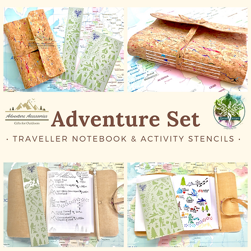 Gifts for Outdoors, Adventure Set - Notebook and Stencil. Adventure Accessories