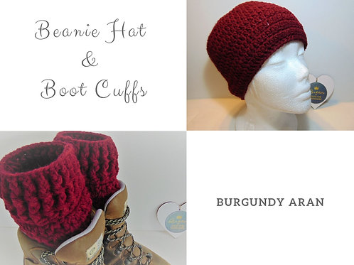 Beanie Hat and Boot Cuffs - Burgundy. Gifts for Outdoors, Advnenture Accessories