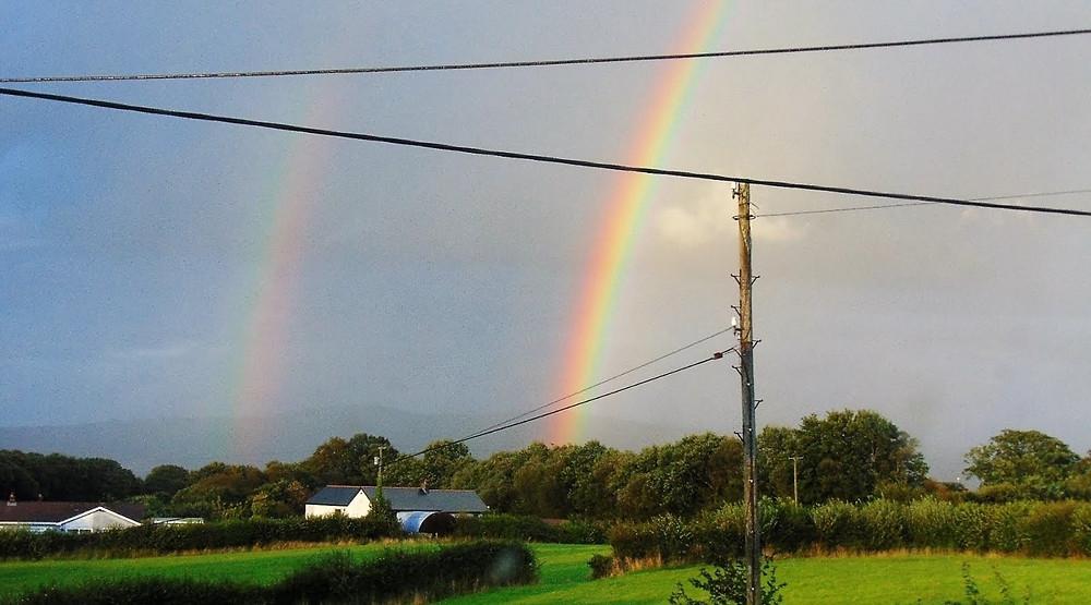 Rainbow over Cross Hands, March 2020. Taken by Sarah, Adventure Accessories