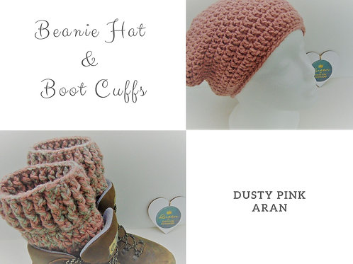 Beanie Hat and Boot Cuffs - Dusty Pink Aran. Gifts for Outdoors, Adventure Accessories