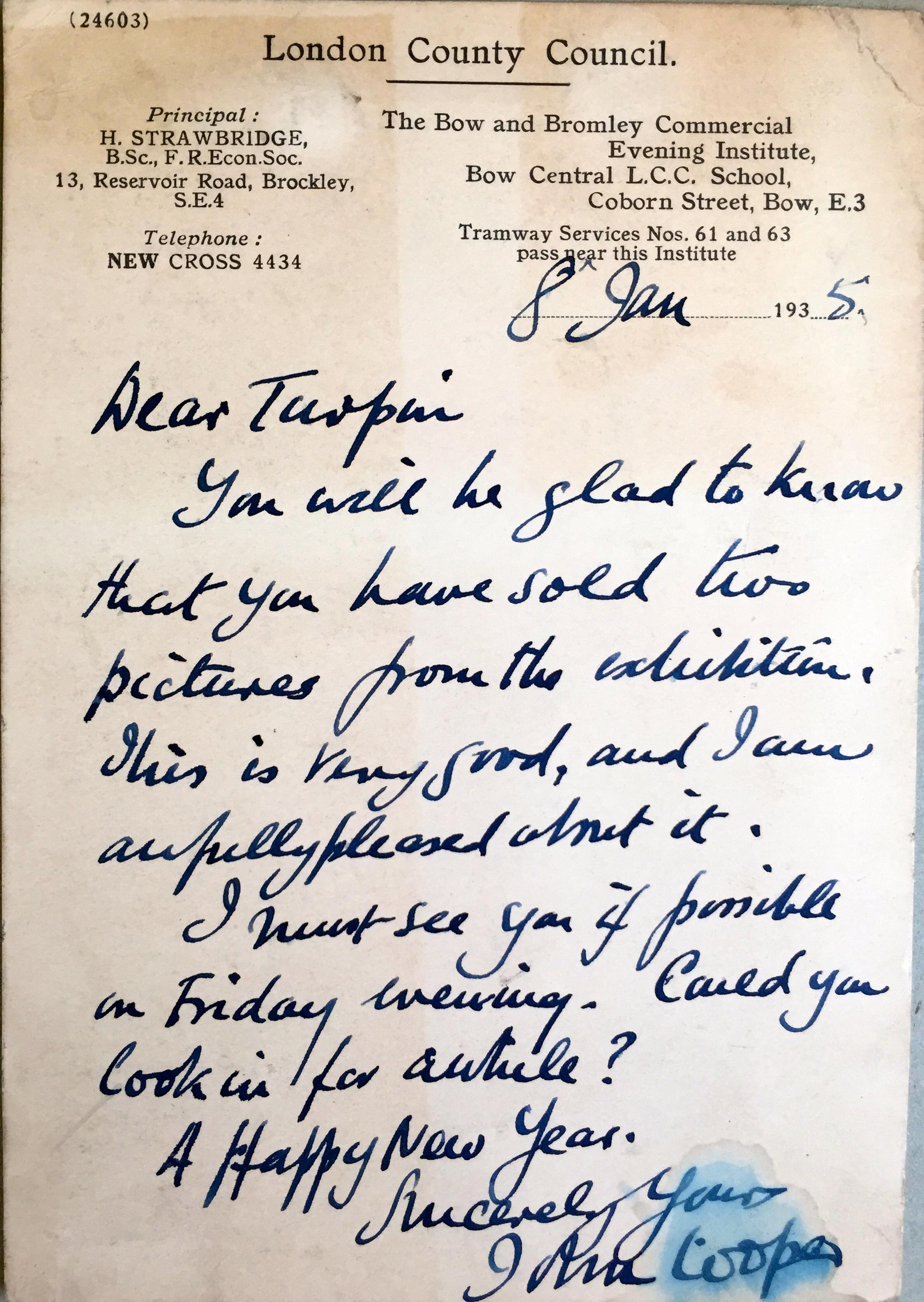 Postcard from John Cooper, 1935