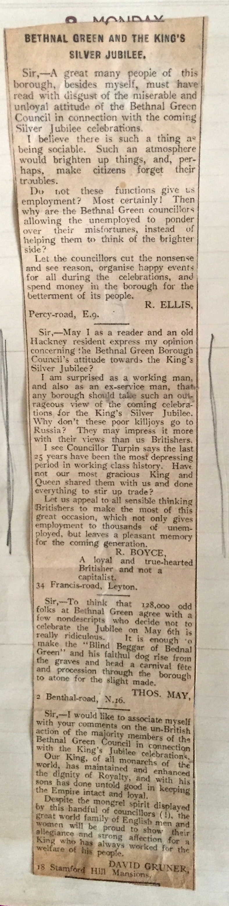 Newspaper letter re. Silver Jubillee