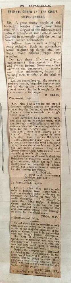 Newspaper letter re. Silver Jubillee