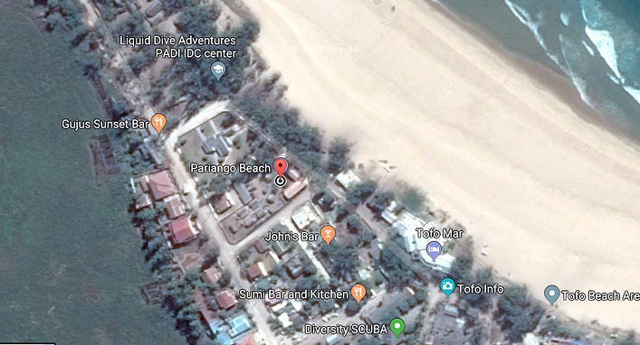 Location of the Pariango Beach Motel