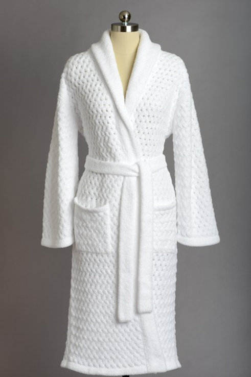 BASKET WEAVE ROBES WHITE  X-LARGE