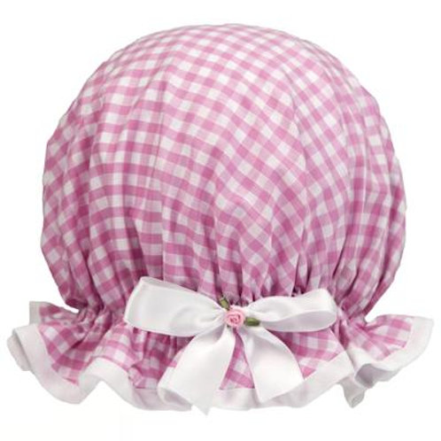 Dilly Daydream Pink Gingham Shower Cap