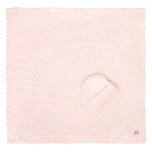 BABY BLANKET SOLID WITH CAP PINK