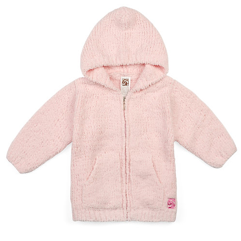 BABY PLUSH HOODIES PINK 12-18 months