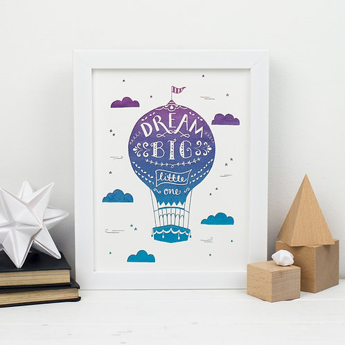Blue Hot air Balloon Print