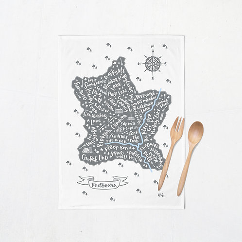 Redbourn map tea towel