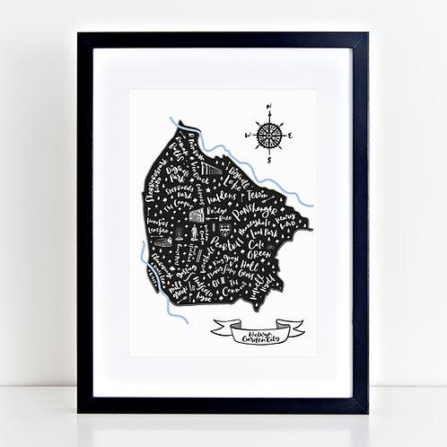 Welwyn Garden City Map Black