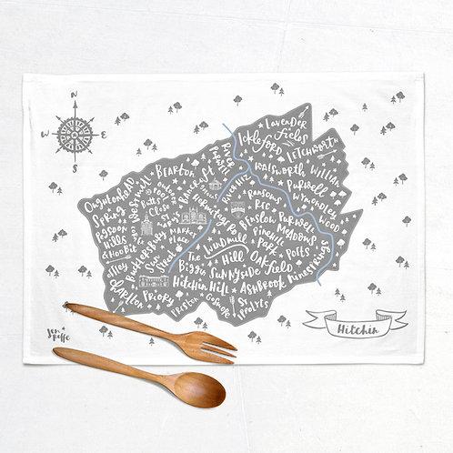 HITCHIN MAP TEA TOWEL