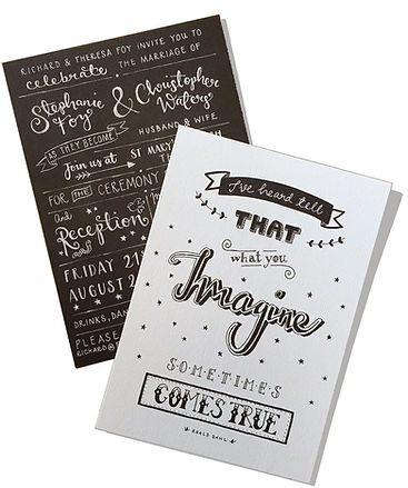 Jen Roffe Wedding Stationery Chalkboard Roald Dahl quote
