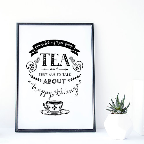 Tea and Happy things A4 print