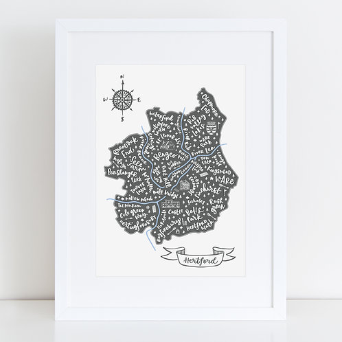Grey and Blue map of Hertford