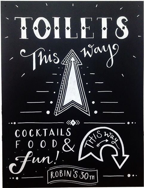 Jen Roffe outdoor party signage toilets this way