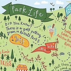 Jen Roffe Hand lettering Illustration Park Life map golf football cafe ride a bike