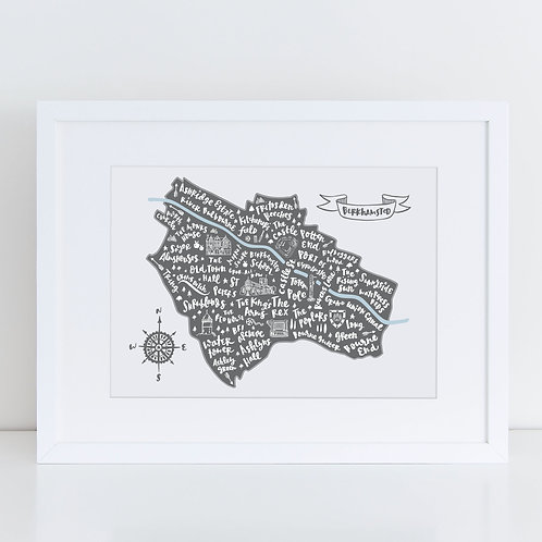 A4 mounted and framed grey illustrated map of Berkhamsted