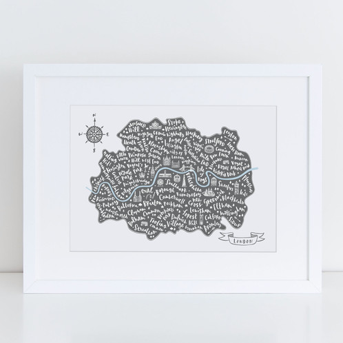 Illustrated map of London Print | Jen Roffe | Hand lettered maps