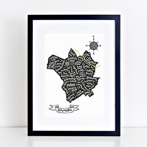 Harpenden Map Print black