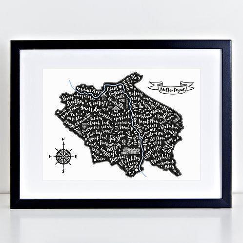 Black framed Jen Roffe Milton Keynes map