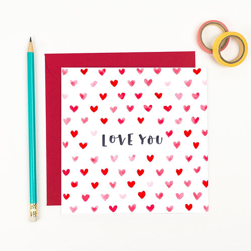 Love You - Heart Valentine's Card