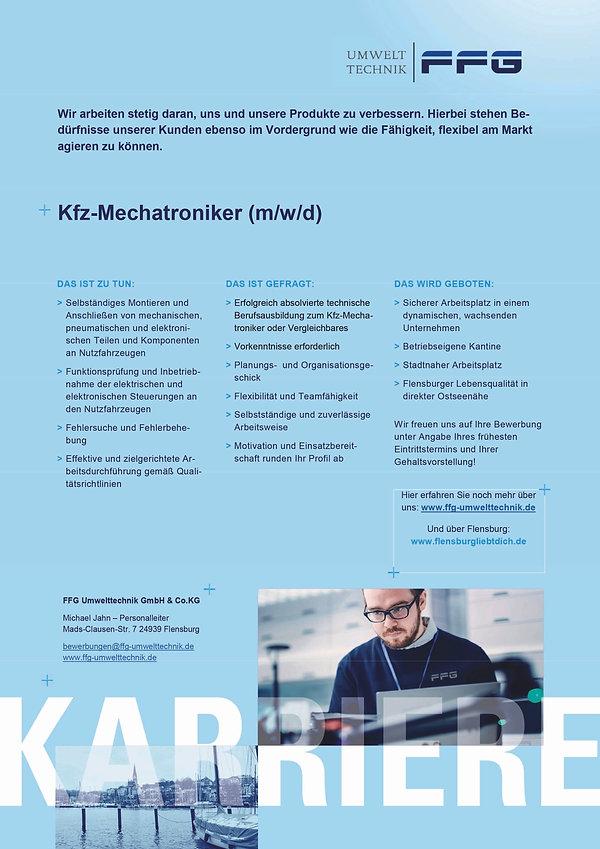FFG_Stellenanzeige_UT_KFZ-Mechatroniker