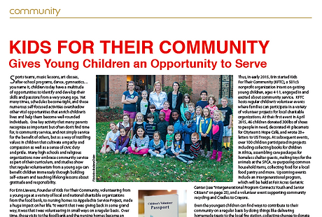 PDF of Kids For Their Community Article in the Montgomery County Women's Journal.