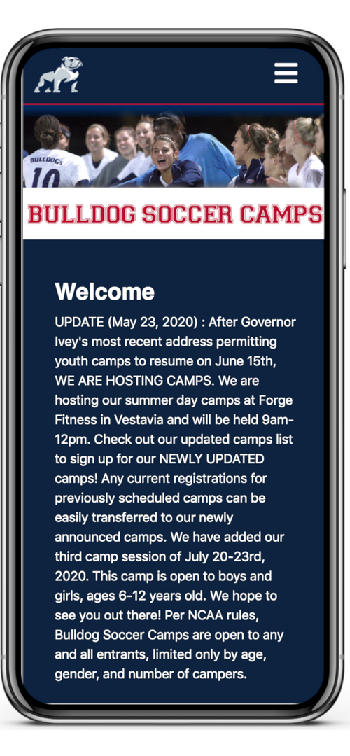 Bulldogs Soccer Camps Mobile Home Page