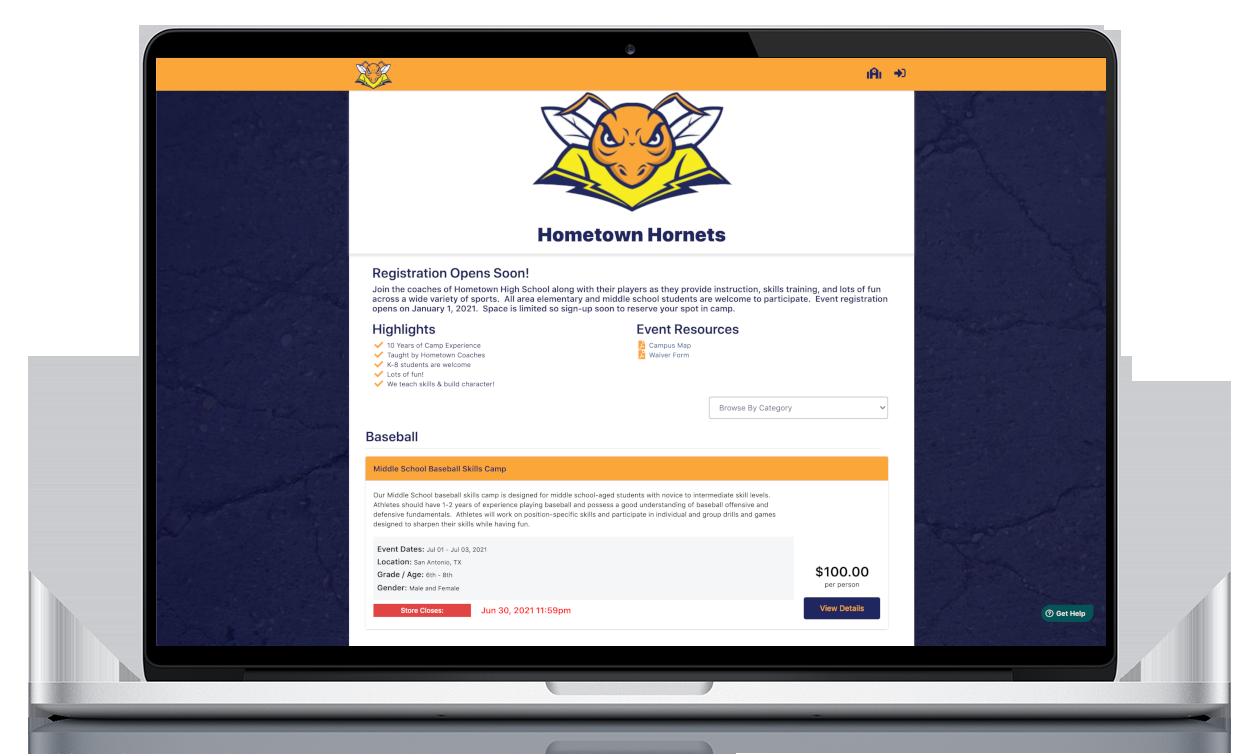 Live Example School Homepage