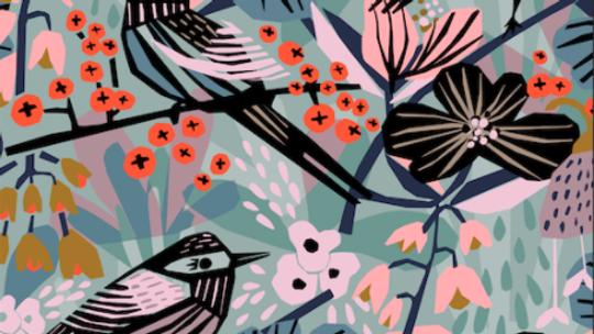 Birds & Blossoms - Cotton Canvas