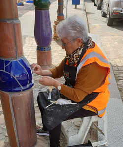 Pat George working on pillars
