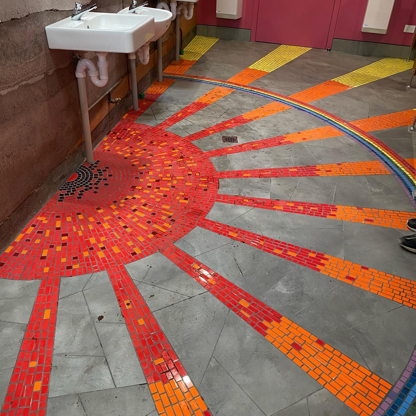 Mosaic Sun Burst Bathroom Floor