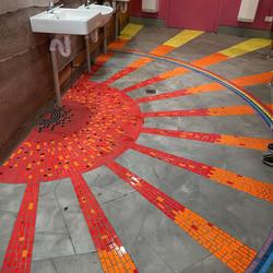 Mosaic Sun Burst Bathroom Floor