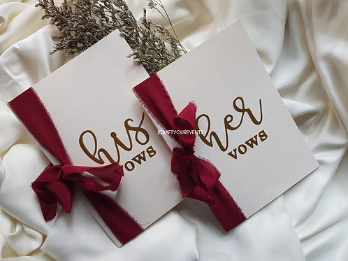 Wedding Vows Card - Red (One Set)