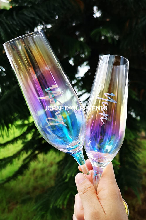 Rainbow Champagne Glass (One Set)
