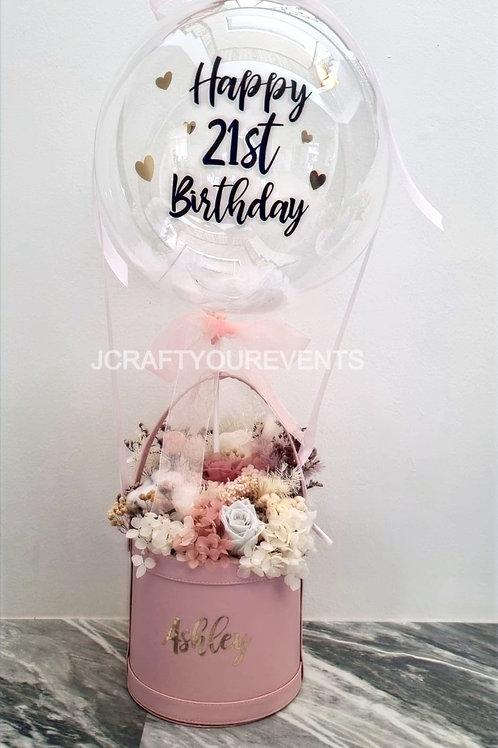 Hot Air Balloon Flower Bucket (Preserved Blooms)