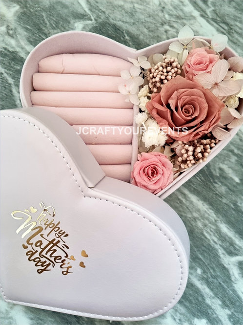 Heart Shaped Jewelry Box with Preserved Blooms