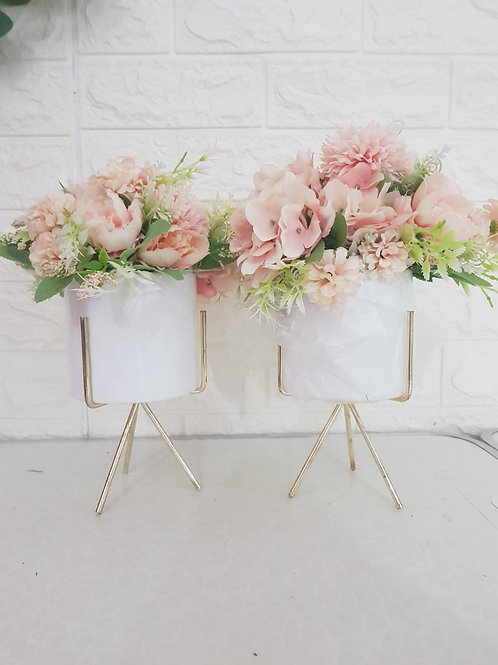 Pink Floral with Gold Stand (One Set)