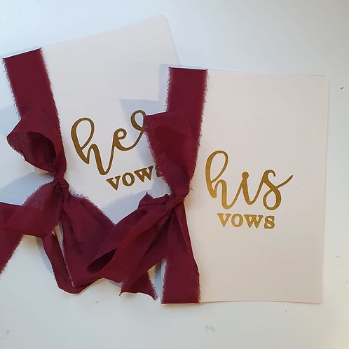 Wedding Vows Card - Wine Red (One Set)