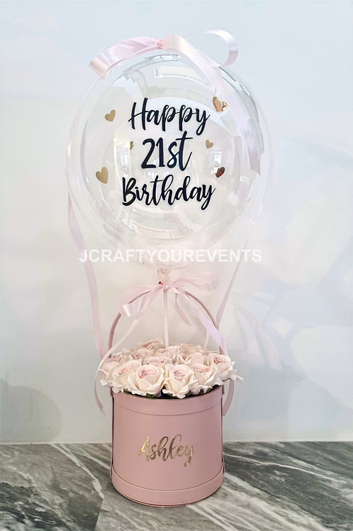 Hot Air Balloon Flower Bucket (Faux Roses)